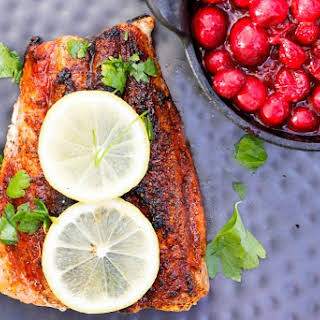 Seared Salmon with Cranberry Chutney.