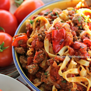 Sausage & Roasted Pepper Linguine