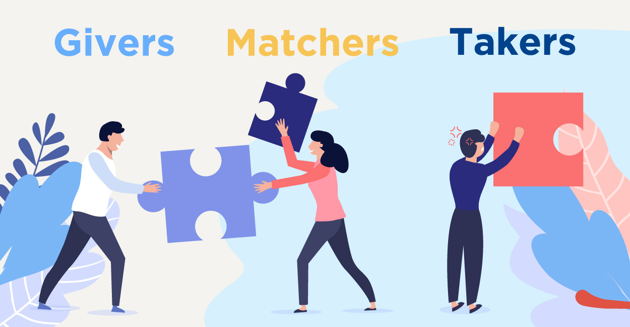 LinkedIn givers, matchers, and takers