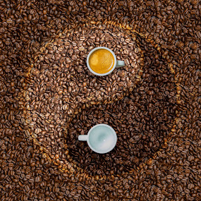Coffee - Light vs Dark by Robby Ticknor - Abstract Patterns ( cups, espresso, beans, coffee, pwc79, circle, ying yang, yin yang, pwc, pwccoffee, Food & Beverage, meal, Eat & Drink )