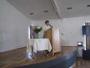 Photo: Svava Bogadóttir skólastjóri við skólaslit 1.-7.bekkjar