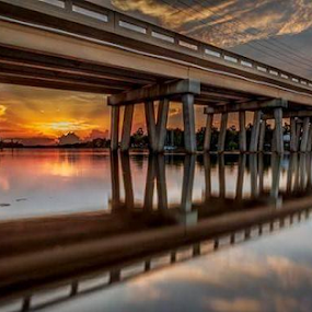 SUNRISE ON THE CALOOSAHACHEE by Patti Westberry - Buildings & Architecture Bridges & Suspended Structures (  )