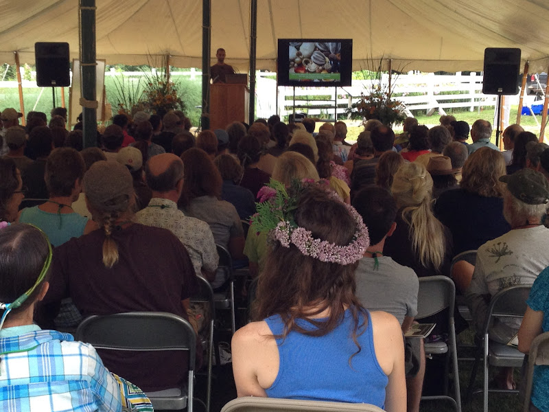 Photo: Crowd at one of the keynotes, this by Ken Greene of the Hudson Valley Seed Library