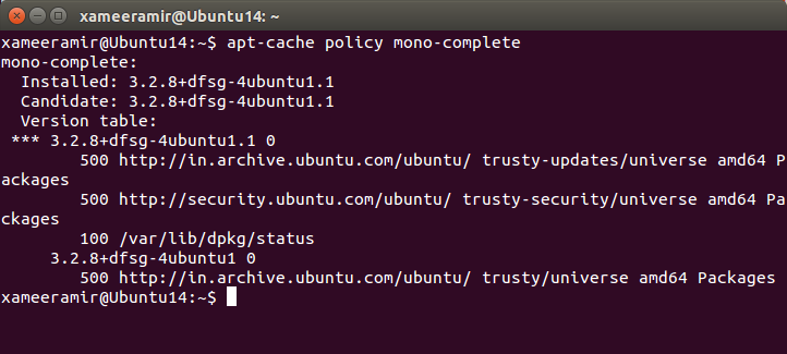 verifying mono-complete install using apt-cache policy