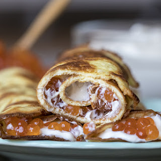 Blini Style Caviar Crepes.