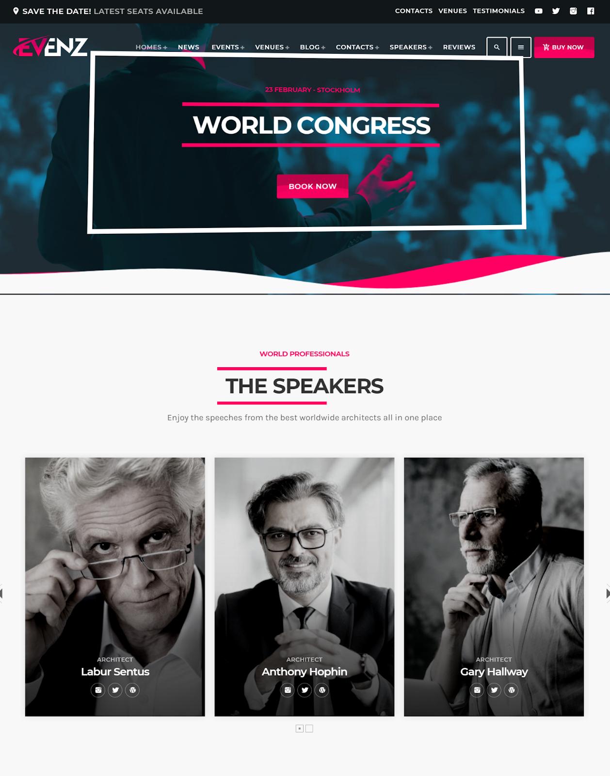 Evenz - Conference wordpress theme