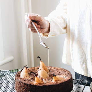 Sticky Date Olive Oil Cake With Chai Spiced Poached Pears.