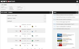 Screenshot of sport.ch SPSN