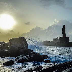 Thiruvaluvar Statue, Kanyakumari, India by Manoj Swaminathan - Buildings & Architecture Statues & Monuments ( water, splash, waves, sea, thiruvaluvar, india, rocks, kanyakumari )