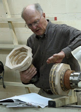 Photo: Stan Sherman demonstrates segmented turning. With the glue-ups in chucks, he shows us the point at which he begins turning