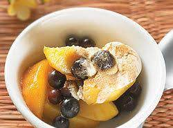 Warm Summer Fruits With Sour Cream And Brown Sugar