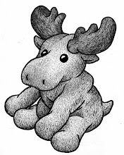 Photo: plush moose (pen & ink sketch)