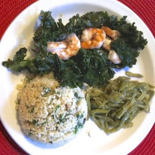 Kale Wrapped Shrimp with Couscous
