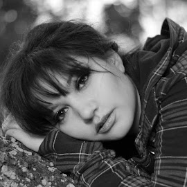 Sincerity by Miranda Cantu - Black & White Portraits & People ( models, beautiful eyes, model, black and white, women )
