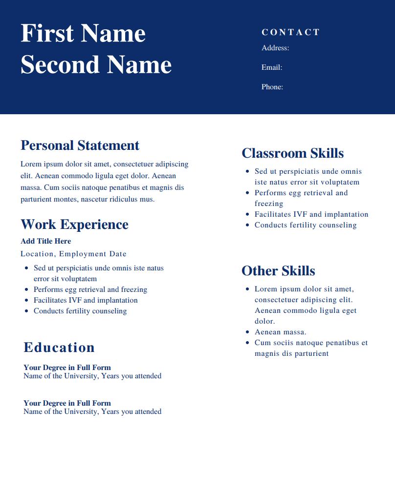 CV templates for teachers