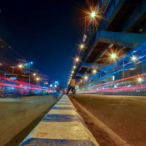 Fastest by Suman Basak - City,  Street & Park  Street Scenes ( night photography, long exposure, architecture, street scene, transportation, street photography, nightscape,  )
