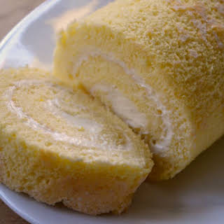 Vanilla Cake Roll with Lemon Mascarpone Cream.