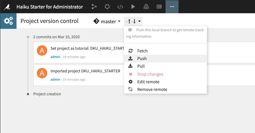 project version control in Dataiku