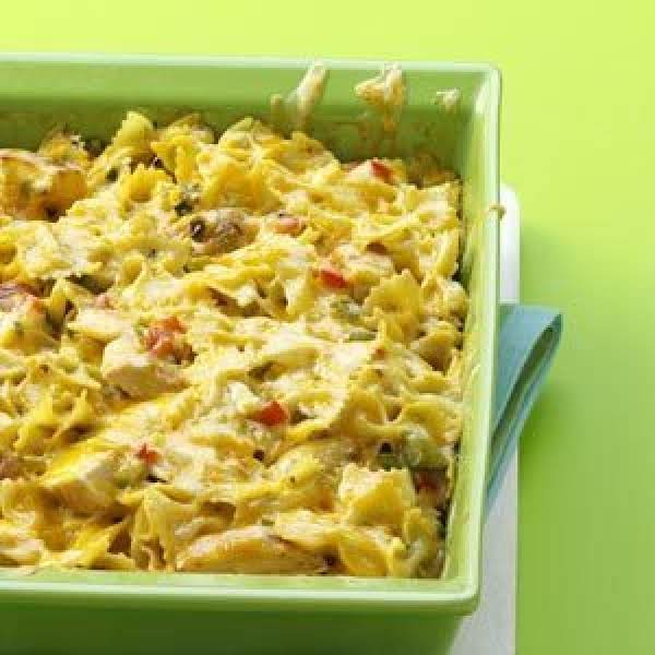 Ham Fettuccine Bake Recipe: Chicken Bow Tie Pasta Casserole Recipe