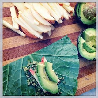 Apple Avocado Wraps with Walnut Pesto