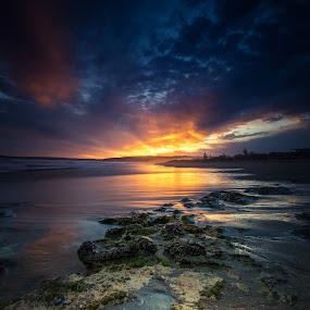 Sunset on Surfer's parade by Nicole Rix - Landscapes Sunsets & Sunrises ( puddle, seascape, rocks, sunset, beach, clouds )