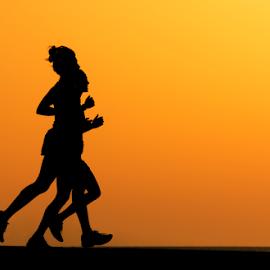 Running at sunset by Yuval Shlomo - Sports & Fitness Running ( running, sports, sunset, sun )