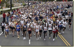The head of the pack, as the marathon starts. Second annual Salt Lake City Marathon. Photo by Trent Nelson; 4.23.2005