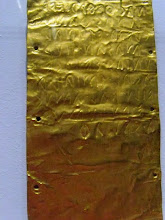 Photo: Three gold sheets with Punic and Etruscan text from Temple B in Cerveteri, end 6th century BC.