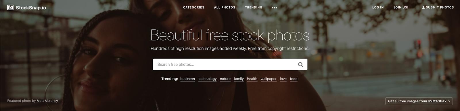 Stocksnap home page screengrab
