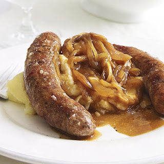 Bangers and Mash with Onion Gravy.