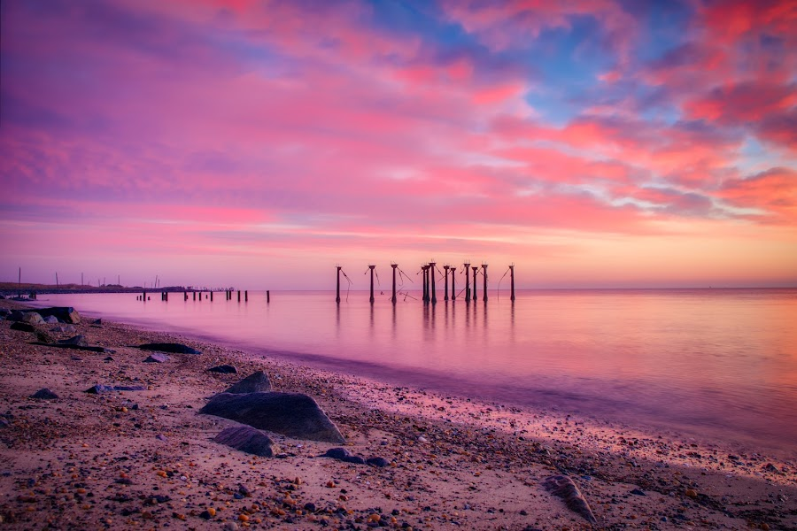 Pink by Brian Lord - Landscapes Sunsets & Sunrises ( sunrise, sunset, delaware, water, landscape )
