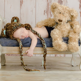 My Teddy Bear by Chris Cavallo - Babies & Children Babies ( bed, baby boy, blue, sleeping baby, teddy, hat, newborn, teddy bear, brown, boy, sleeping,  )