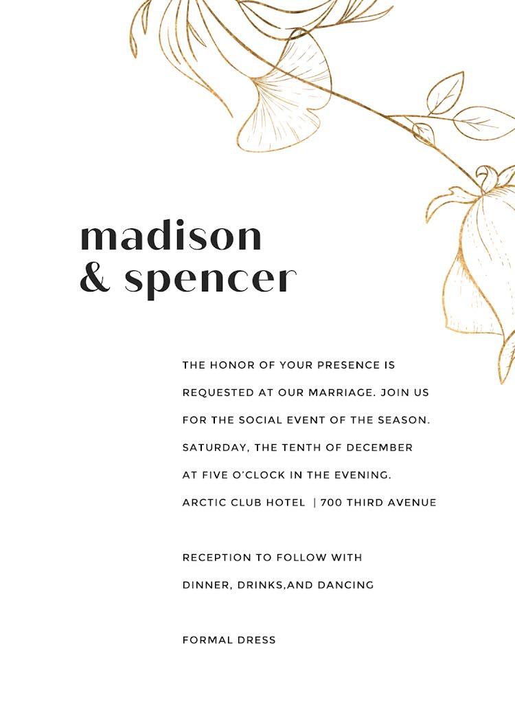 Dinner, Drinks & Dancing - Wedding Invitation Template