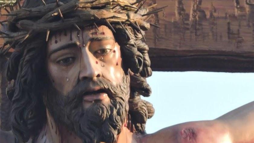 detalle del Cartel  anunciador de los actos y procesión que se celebrará en el Puerto de Roquetas.