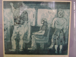 "Photo: María del Carmen Cachin Marusich  ""COLECTIVO I ""  Aguafuerte   impresión sobre papel, prueba de artista Córdoba, Argentina, 1987 10 in. x 12 in."