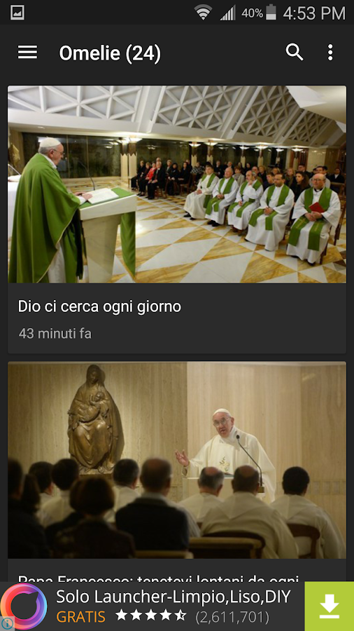 Messa del Papa Francesco- screenshot