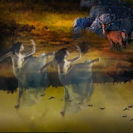 by Svein Ivar Ask - Digital Art People ( surreal, foggy, askenphoto, nature, woods, fairytale, photoart, wood nymphs, digitalart )