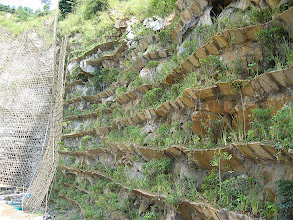 Photo: CHN-QU08  Extreme revegetation with vetiver - Guangdong China.  Artificial terraces have been slotted into quarry face and planted with vetiver and other shrubs
