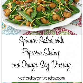 Spinach Salad with Popcorn Shrimp and Orange Soy Dressing