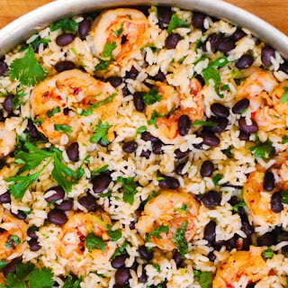 Cilantro-Lime and Black Bean Shrimp and Rice Skillet Recipe
