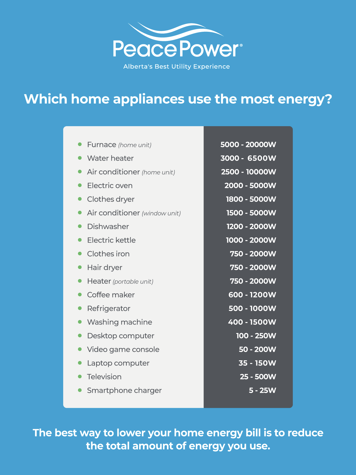 Which home appliances use the most energy? Infographic