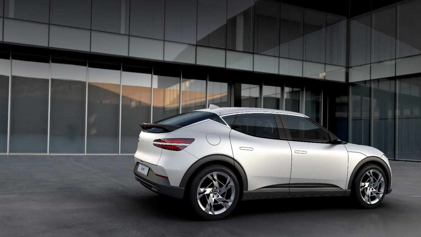 A white sports car parked in front of a building  Description automatically generated with medium confidence