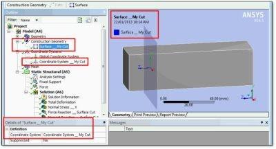 ANSYS Модель со вспомогательной плоскостью (Construction Geometry Surface) в WB Mechanical