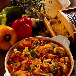 Überbackene Tortellini mit Paprika