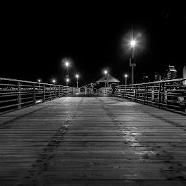 Pier by Cynthia Leon - Black & White Street & Candid ( black and white, pier, ocean, seaside,  )