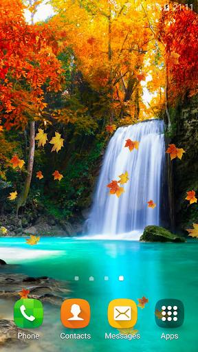 秋天 瀑布 動態壁紙