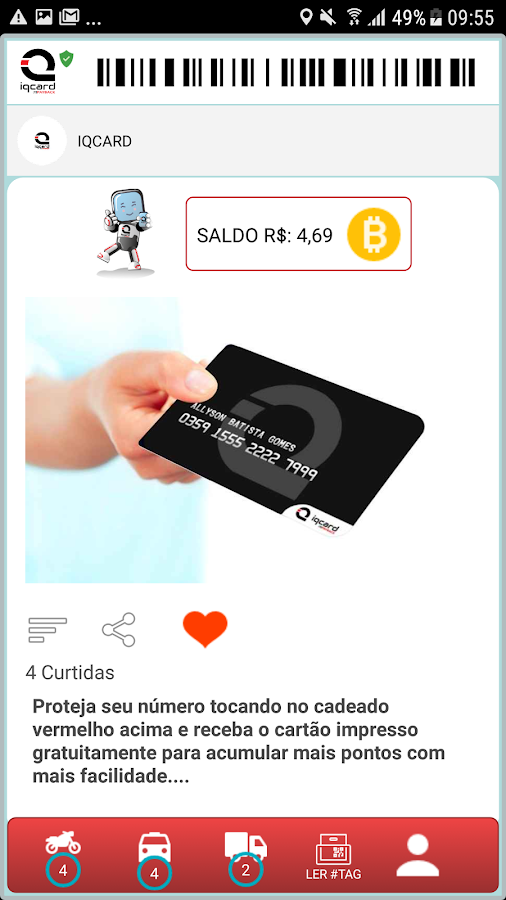 IQCARD: captura de tela