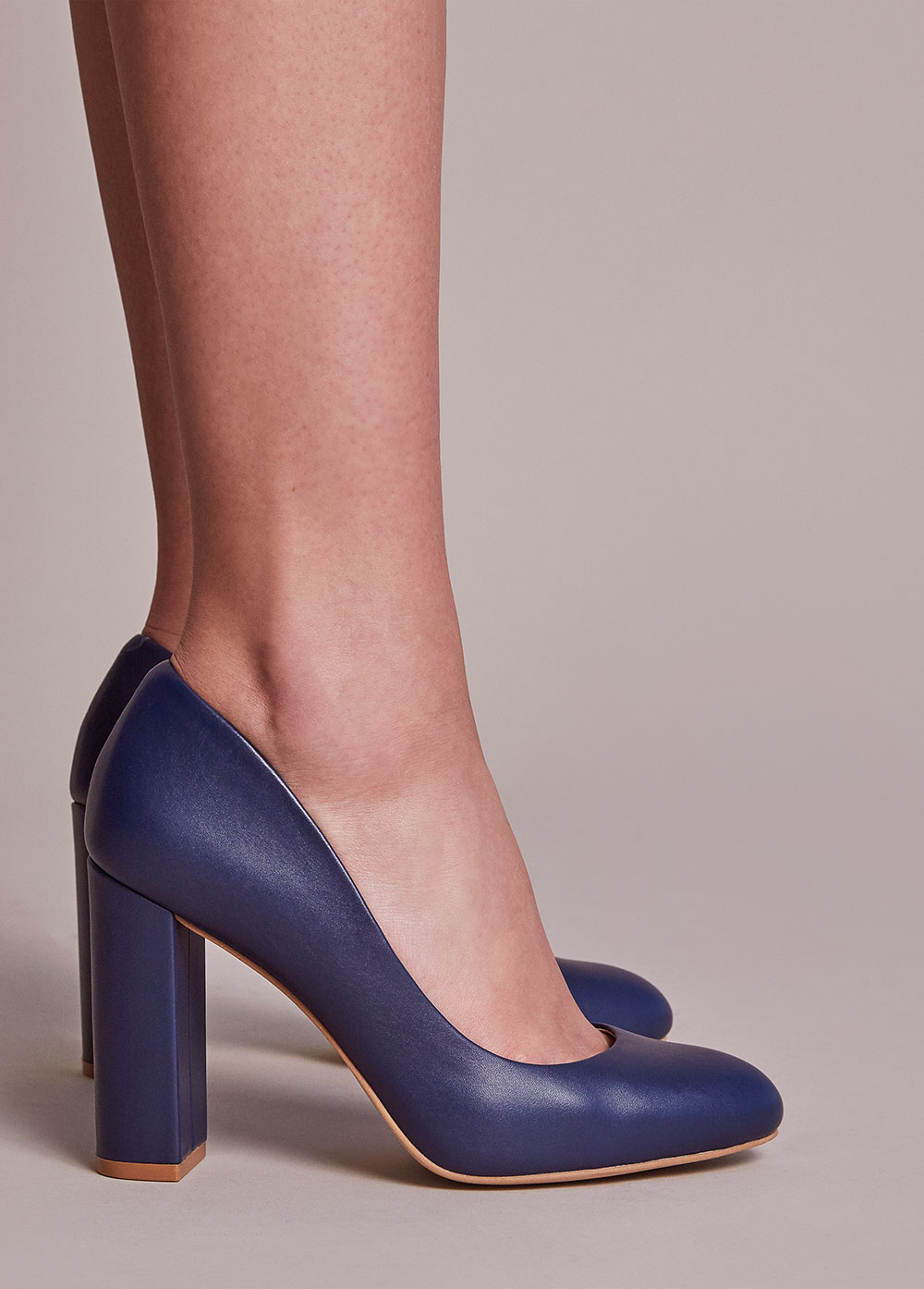 Navy leather 4 inch pump. Design your own shoes