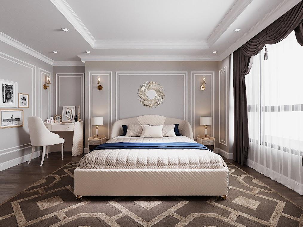 Tổng thể phòng ngủ căn hộ 6th Element sử dụng màu trắng, be đơn giản nhưng trở nên nổi bật khi các kiến trúc sư tạo điểm nhấn với gương trang trí đầu giường, tranh treo tường, rèm cửa và thảm lót sàn.