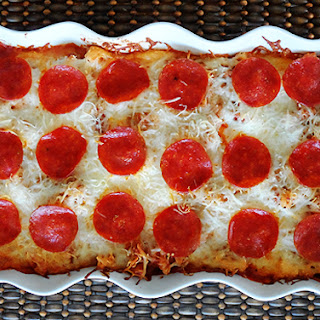 Sausage & Pepperoni Pizza Casserole.